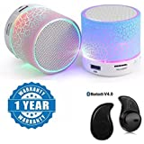 Drumstone Colorful LED Light Crack Pattern Mini Stereo Portable Wireless Bluetooth Speaker With S530 Mini Style 1pcs Wireless Bluetooth Headset Works With All Android Or Iphone Devices (1 Year Warranty, Color May Vary)