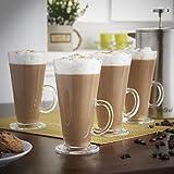 VonShef Set of 4 Latte Tall Glasses, V Shaped Latte Mocha 250ml Cappuccino Coffee Hot Chocolate Glasses from VonShef