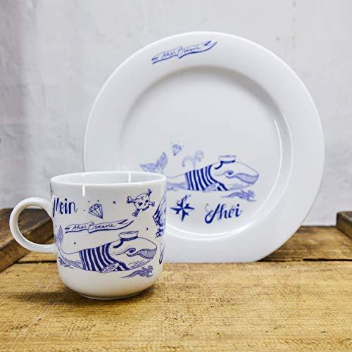 Kaffeebecher und Teller Set - Motiv Seefahrer Wal - Maritime Porzellan-Tasse und Teller original aus dem Norden
