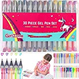 GirlZone: 30 Piece Colouring Gel Pens Set, Ideal Birthday Present & Arts