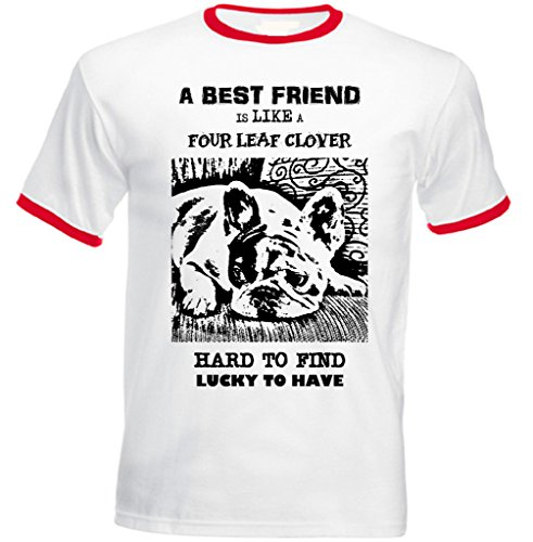 teesquare1st Men's French Bulldog Best Friend PB 38 Red Ringer T-Shirt Size Large