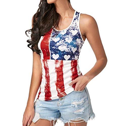 AiBarle Women Summer Fashion Sleeveless American Flag Blouse Top T Shirt Tee Shirt (Red, S)