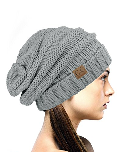NYfashion101 Lose bauschige Winter Strickmütze - Natur Grau