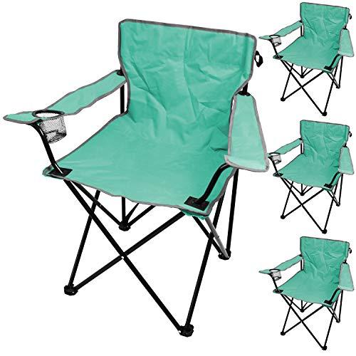 Wohaga 4er Set Campingstuhl inkl. Getränkehalter, Türkis, tragbar, faltbar, Garten Balkon Strand Klappstuhl Faltstuhl