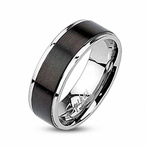 Mianova Band Ring Edelstahl Inlay gebürstet Bandring Freundschaftsring Herrenring Damenring Partnerring Damen Herren Silber Schwarzt Größe 70 - Ring Inlay Onyx Black