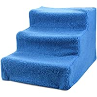 V.JUST Pet Dog 3 Steps Stairs Stairs en Beige - Cubierta Desmontable para Perro pequeño Cat Pet Ramp Ladder portátil de hasta 15 kg,Blue