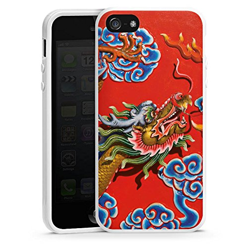Apple iPhone 5s Housse Étui Protection Coque Chine Dragon Motif Housse en silicone blanc