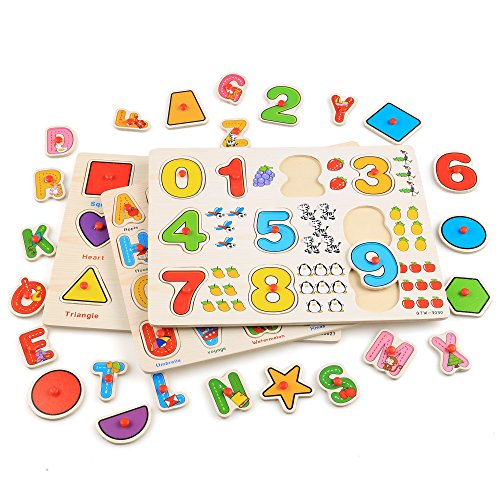 Keepgar Profun 56 PCS Wooden Jigsaw Puzzle 3 Alphabet/Number/Graph Set Educational Puzzle Toys for Kids