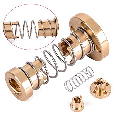 Brass T8 Anti-Backlash Spring Loaded Nut Set for 8mm Threaded Rod Lead Screw