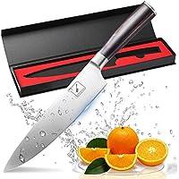Couteau de cuisine, Imarku professionnelle 20 cm Couteau de cuisine, couteau à légumes, couteau de chef, couteau, pommes de terre à éplucher Couteau en acier carbone inoxydable bord avec lame de précision et avec poignée ergonomique Couteau à tout faire marron