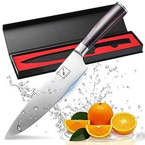 Couteau de cuisine, Imarku professionnelle 20 cm couteau à légumes, couteau de chef, en acier carbone inoxydable bord avec lame de précision et avec poignée ergonomique Couteau à tout faire marron