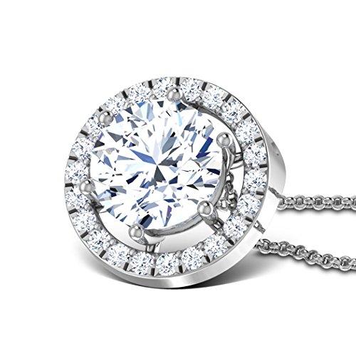 Oro bianco 18K 2.28Cttw round-cut-diamond (Ij | si) ciondolo
