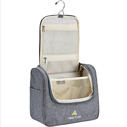 Kosmetiktasche zum Aufhängen von Hikenture® - Waschtasche für Damen und Herren - Kulturbeutel Kulturtasche mit Haken für Reisen, Outdoor, Camping (Grau)
