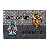 Relaxdays - Felpudo con un búho Impreso Welcome-Goodbye para la Entrada de su hogar Hecho de Fibras de Coco y PVC con Medidas 40 x 60 cm Antideslizante Elemento Decorativo, Color Gris