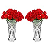 Kristall Blumenvase (2Pcs) - 25cm Kristall Klaren Glaswaren Vasen - Blumenvase Gross für Hochzeit Mittelstück Dekoration, Hohe Blumenvasen für Wohnzimmer, Dekoration - Hochzeitsgeschenk und Wohndekor