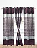 KRAFTKIN WINE Color Curtain With Easily Removed And Fix Rings (Pattern : Cloth Polyester. Panel/ Frame Designing.Fitted With 8 Removable Eyelet Rings. )