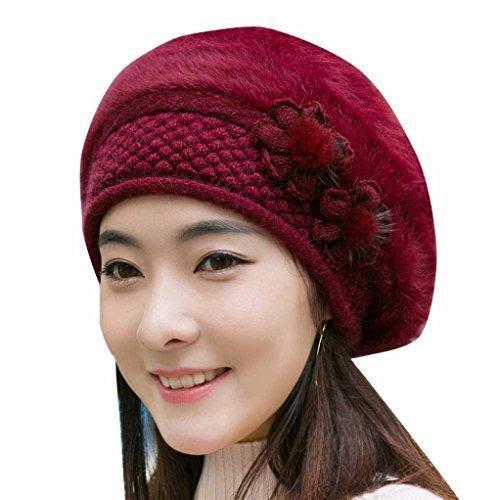 SHOBDW Mujeres de moda flor de punto crochet sombrero gorro de invierno caliente gorra boina (Vino rojo)