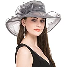 LUCKY Leaf Sombrero Encantador de la Iglesia de Organza de la Mujer Sombrero  Borde Ancho Floral 5430ea062bb