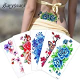 #8: glaryyears 1 Sheet Colored Drawing Flower Body Tattoo Vitality Temporary Waterproof Rose Peony Tattoo Sticker for Women Back Art