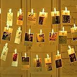 LED Foto Clip Stringa Illuminazione Foto Clips Molletta Luce Stringa di Luce Alimentata a Batteria per appendere foto Giardini Casa Matrimonio Festa di Natale Compleanno 6M 40LED