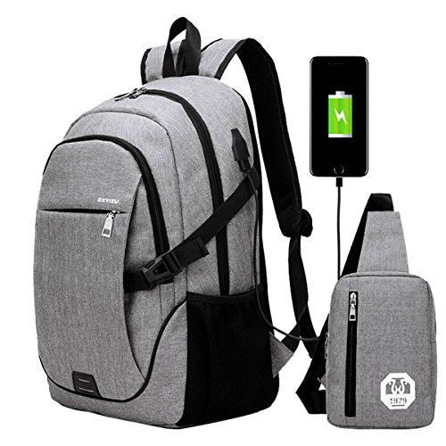 SUPA MODERN® Nylon Schulrucksack mit USB-Ladegeraut Port Laptoptasche fuer jugendlich Mädchen und Jungen Cooler Sportrucksack 2 Taschen Set 1 großer Rucksack und 1 Umhaungetasche (Original-tasche Port Die)