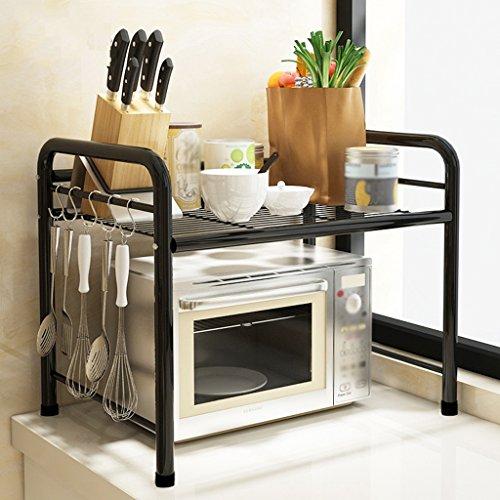 GRJH® Cuisine étagère Atterrissage Four à micro-ondes Poteaux à étagères Acier inox Imperméable et durable (Couleur : Noir, taille : 50*35*50cm)