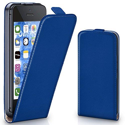 Bolso OneFlow para funda iPhone 5 / 5S / SE Cubierta con imán | Estuche Flip Case Funda móvil plegable | Bolso móvil protección móvil paragolpes funda protectora con cubierta en Azzurro/Blu