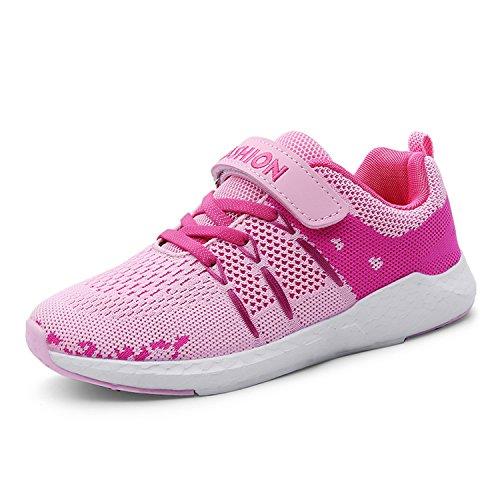 Unpowlink Kinder Schuhe Sportschuhe Ultraleicht Atmungsaktiv Turnschuhe Klettverschluss Low-Top Sneakers Laufen Schuhe Laufschuhe für Mädchen Jungen 28-37, Rosa, 32 EU