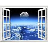 LXHLXN Wandaufkleber Wohnzimmer Schlafzimmer Hintergrund Novel 3DStar Galaxy Raum Wohnkultur Kunst Gefälschte Fenster Wand Abnehmbar