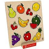 Hape–e6317–Puzzle de madera diseño de botones de frutas
