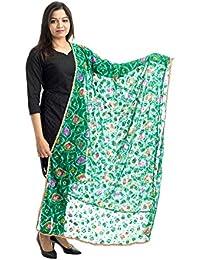 Lodestone Women's Bandhani Net Dupatta With Lace Work