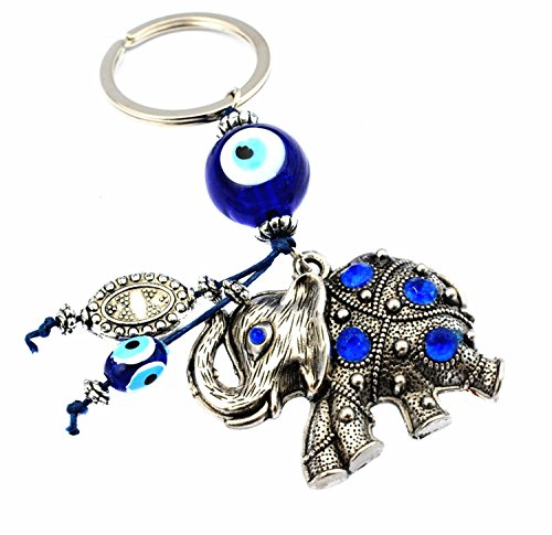 Betterdecor Azul Mal de Ojo con Elefante Cadena para Llavero protección Pounch -049