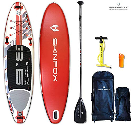 SKINFOX Whale rot iSUP Stand up Paddle Board Set aufblasbar Paddelboard|TESTSIEGER SUP|335x78x15 cm|Tragkraft 175 kg|(Board,Rucksack m. Rollen,Doppelhub-Pumpe,Repair-Set,Carbon-SUP Paddel)