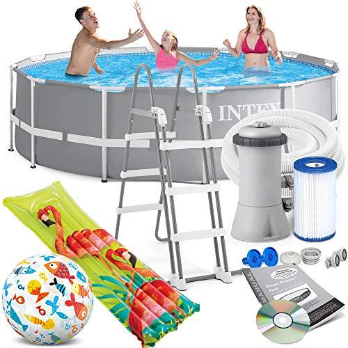 INTEX 366x99 cm Prism Metal Frame Swimming Pool Schwimmbecken 26716 Komplett-Set mit Extra-Zubehör wie: Strandball und Luftmatratze