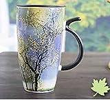 Copa de cerámica Copa de agua de la personalidad Taza de estilo europeo Taza simple Copa de alta capacidad pintada a mano Literatura y arte Copas de café (Color : #4)