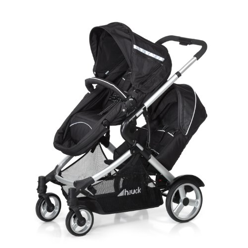 Hauck Duett - Carrito de bebé para 2 niños de diferentes edades, silla superior convertible en cochecito, silla inferior extraíble