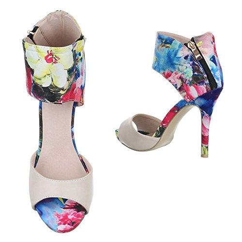 Damen Schuhe Sandaletten High Heels Stiletto Pumps Beige Multi Beige