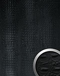 Design revêtement mural auto-adhésif WallFace 13408 CROCO Aimantin Simili cuir de crocodile noir 2,60 m2