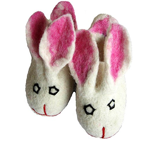 musimon Hausschuhe für Kinder Filzschuhe aus 100% Schafwolle Hase weiß rosa