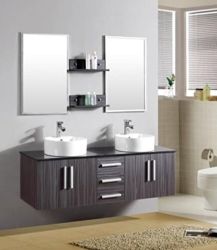 Mobile arredo bagno smeraldo2 cm 150 sospeso wengè con lavabo d'appoggio e top in cristallo mobili