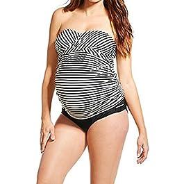 Zilee Donna Tankini Premaman Costumi da Bagno – Gravidanza Taglie Forti Tankini 2 Pezzi Nuoto Bikini Set maternità a Strisce con Cinghia Rimovibile, L-3XL