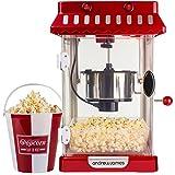 Andrew James - Klassische Retro Popcorn Maschine 'Cinema Style' mit 4 wiederverwendbaren Popcorneimern - 2 Jahre Garantie