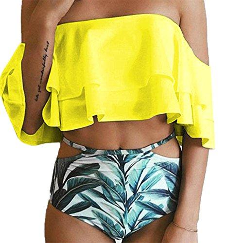Bademode Frauen, Frau Zwei Stück Off Shoulder Rüschen Volant Crop Bikini Oberteil Mit Print Cut Out Bottoms (XXL (EU 48-50), Gelb)