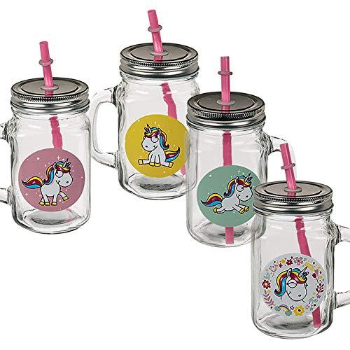 Di-Nesh (501) 4er Set Trinkglas Einhorn Glas mit Henkel Deckel Strohhalm 500ml Gläserset