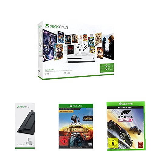 Xbox One S 1 TB Konsole - Starter Bundle + Standfuß + Playerunknown's Battlegrounds + Forza Horizon