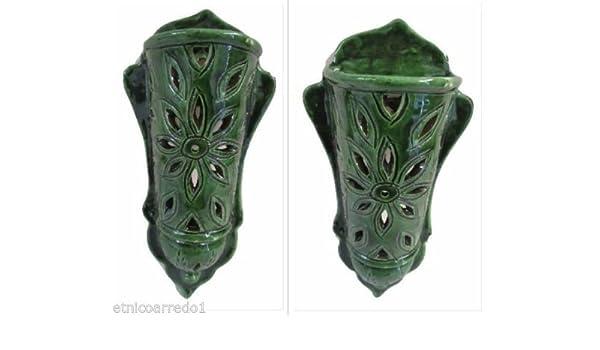 Lampada lanterna applique da muro ceramica terracotta marocco