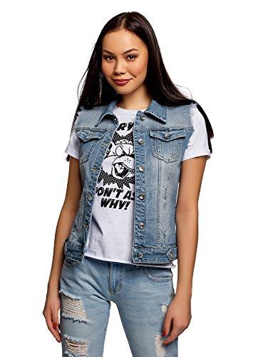 oodji Ultra Damen Jeansweste mit Ziertaschen, Blau, DE 38 / EU 40 / M