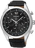 Seiko–SSB097P1–Armbanduhr–Quarz Chronograph–Schwarzes Ziffernblatt–Armband Leder Schwarz