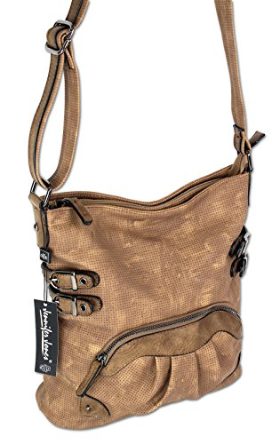 Jennifer Jones Taschen Damen Damentasche Handtasche Schultertasche Umhängetasche Tasche klein Crossbody Bag hellgrau / jeans-blau (3119) (schwarz) Braun