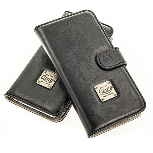 """QIOTTI >          APPLE iPHONE 6 PLUS / 6S PLUS (5,5"""")          < incl. PANZERGLAS H9 HD+ 2-in-1 Booklet mit herausnehmbare Schutzhülle, magnetisch, 360 Grad Aufstellmöglichkeit, Wallet Case Hülle Tasche handgefertigt  SCHWARZ"""